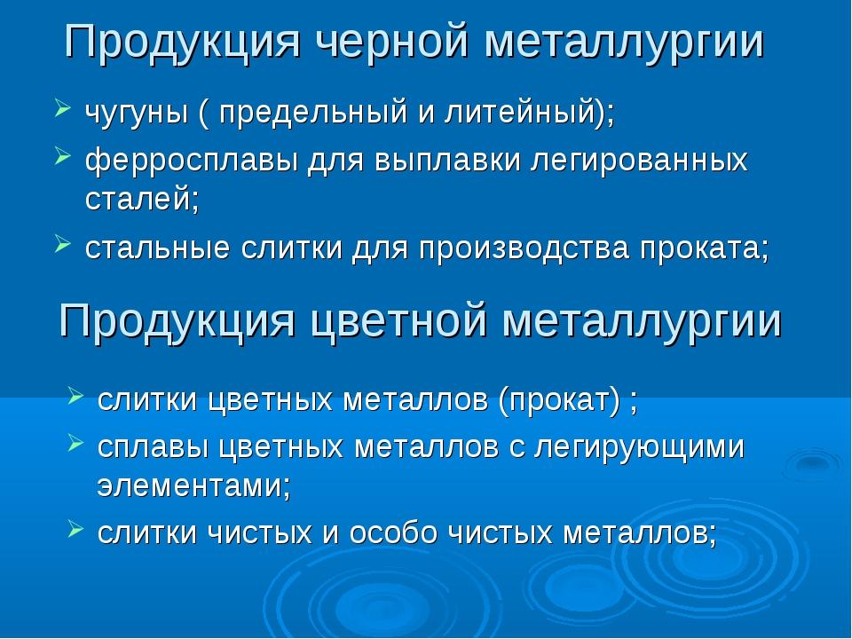 Продукция черной металлургии чугуны ( предельный и литейный); ферросплавы для...