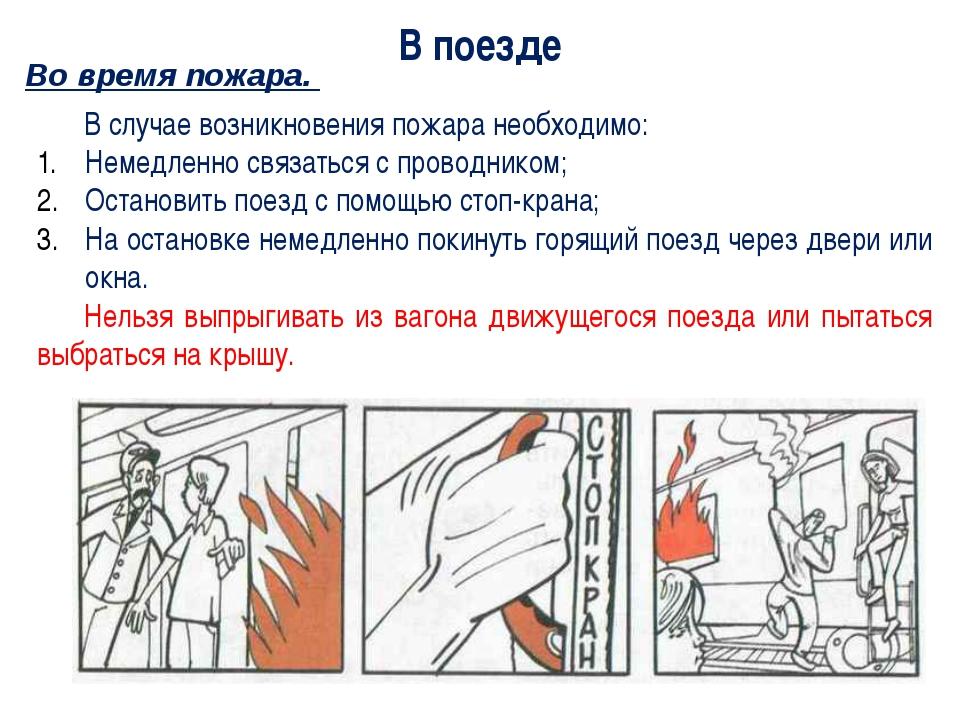 В поезде В случае возникновения пожара необходимо: Немедленно связаться с пр...