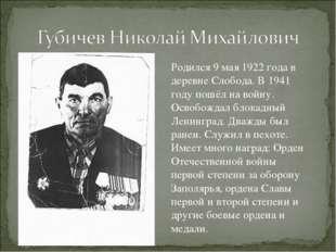 Родился 9 мая 1922 года в деревне Слобода. В 1941 году пошёл на войну. Освобо