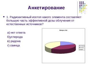 Анкетирование 1. Радиоактивный изотоп какого элемента составляет большую част