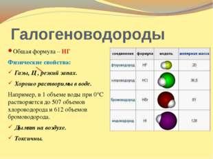 Галогеноводороды Общая формула – НГ Физические свойства: Газы, Ц , резкий зап