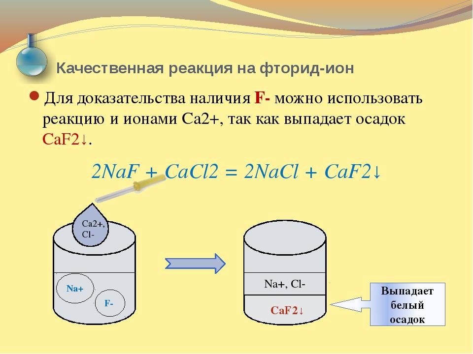 Качественная реакция на фторид-ион Для доказательства наличия F- можно исполь...