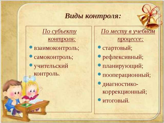 Виды контроля: По субъекту контроля: взаимоконтроль; самоконтроль; учительски...