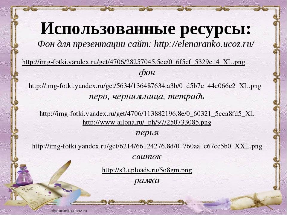Использованные ресурсы: Фон для презентации сайт: http://elenaranko.ucoz.ru/...
