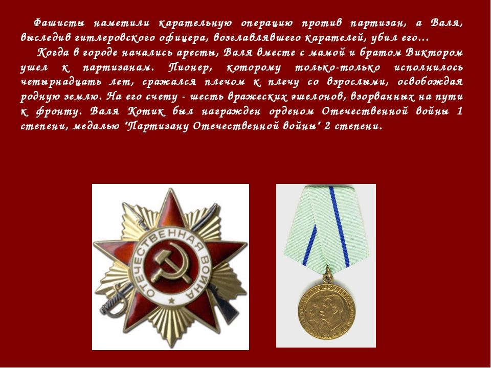 Фашисты наметили карательную операцию против партизан, а Валя, выследив гитл...