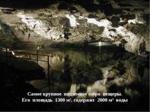 Самое крупное подземное озеро пещеры. Его площадь 1300 м², содержит 2000 м³ в