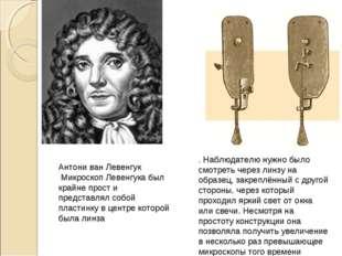 Антони ван Левенгук Микроскоп Левенгука был крайне прост и представлял собой