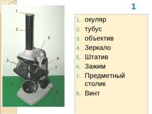 окуляр тубус объектив Зеркало Штатив Зажим Предметный столик Винт 1
