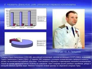 4. Назвать фамилию, имя, отчество первого космонавта. Гагарин Юрий Алексеевич