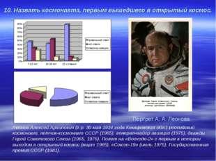 10. Назвать космонавта, первым вышедшего в открытый космос. Леонов Алексей Ар