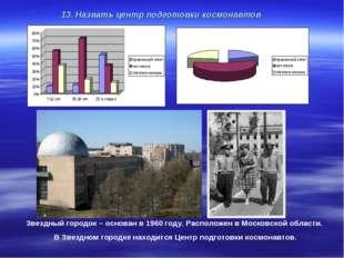 13. Назвать центр подготовки космонавтов . Звездный городок – основан в 1960