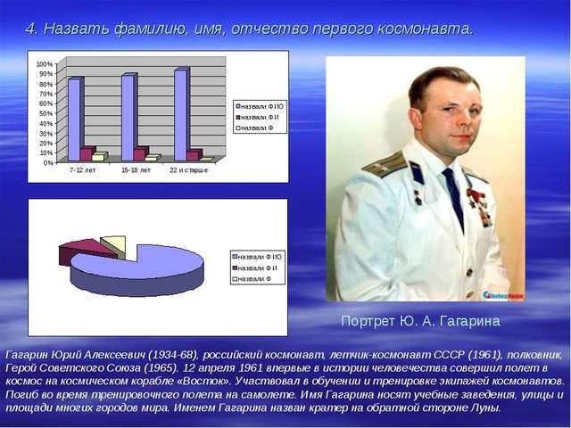 4. Назвать фамилию, имя, отчество первого космонавта. Гагарин Юрий Алексеевич...