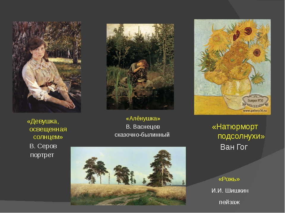 «Рожь» И.И. Шишкин пейзаж «Натюрморт подсолнухи» Ван Гог «Алёнушка» В. Васнец...