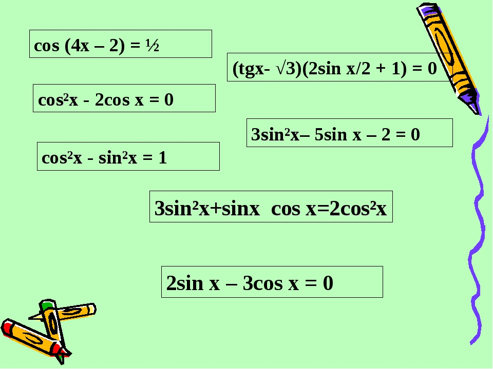 cos (4x – 2) = ½ сos²x - 2cos x = 0 cos²x - sin²x = 1 3sin²x– 5sin x – 2 = 0...