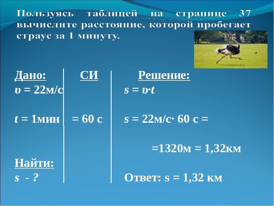 Дано: СИ Решение: υ = 22м/с  s = υ·t t = 1мин = 60 с s = 22м/с· 60 с =...