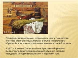 Ефим Карнович предложил организовать школу льноводства, в которой опытные спе