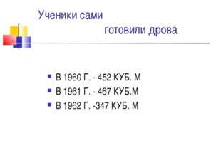 Ученики сами готовили дрова В 1960 Г. - 452 КУБ. М В 1961 Г. - 467 КУБ.М