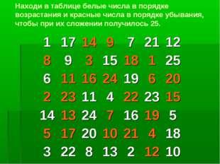 Находи в таблице белые числа в порядке возрастания и красные числа в порядке