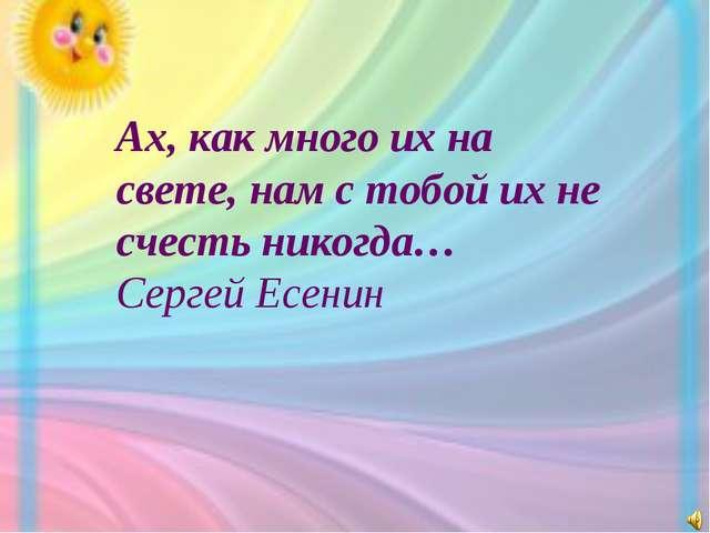 Ах, как много их на свете, нам с тобой их не счесть никогда… Сергей Есенин