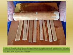 После нескольких дней вымачивания папирус раскатывают деревянной скалкой, от