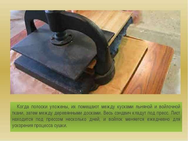 Когда полоски уложены, их помещают между кусками льняной и войлочной ткани,...