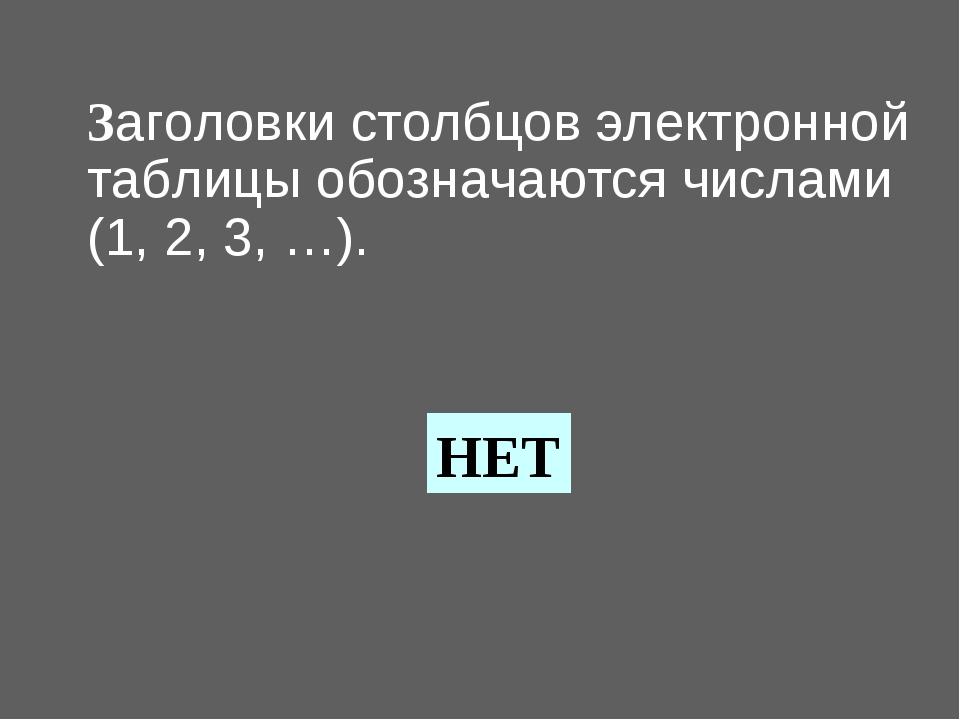 Заголовки столбцов электронной таблицы обозначаются числами (1, 2, 3, …). НЕТ