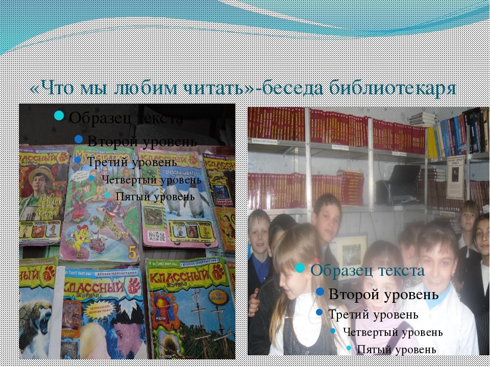 «Что мы любим читать»-беседа библиотекаря