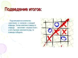 Подведение итогов: Подсчитывается количество «крестиков» и «ноликов» у каждой