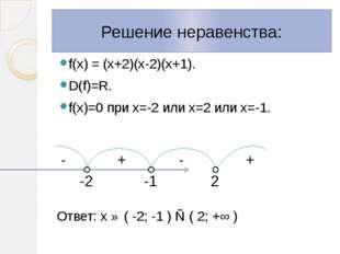 f(х) = (х+2)(х-2)(х+1). D(f)=R. f(х)=0 при х=-2 или х=2 или х=-1. Ответ: х ∈