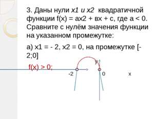 3. Даны нули х1 и х2 квадратичной функции f(х) = ах2 + вх + с, где а < 0. Ср