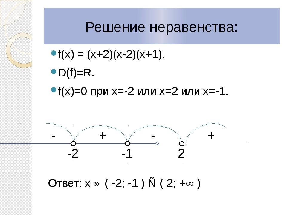 f(х) = (х+2)(х-2)(х+1). D(f)=R. f(х)=0 при х=-2 или х=2 или х=-1. Ответ: х ∈...
