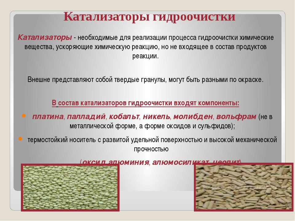 Катализаторы гидроочистки Катализаторы - необходимые для реализации процесса...
