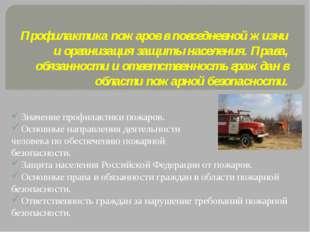 Профилактика пожаров в повседневной жизни и организация защиты населения. Пра