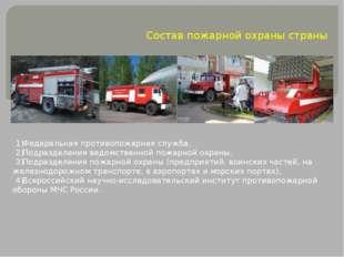 Состав пожарной охраны страны Федеральная противопожарная служба, Подразделен