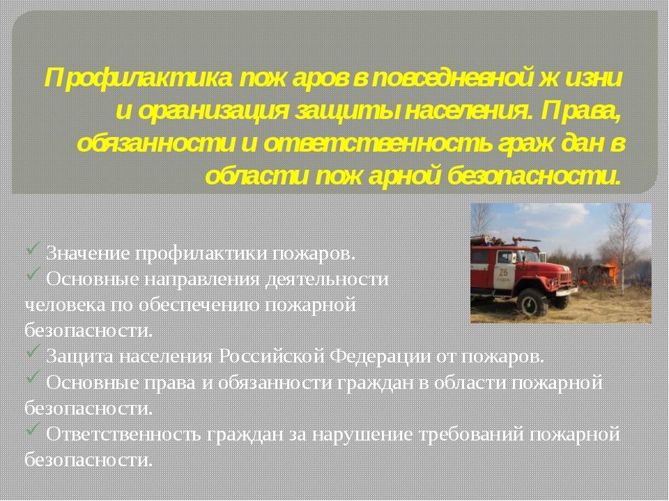 Профилактика пожаров в повседневной жизни и организация защиты населения. Пра...