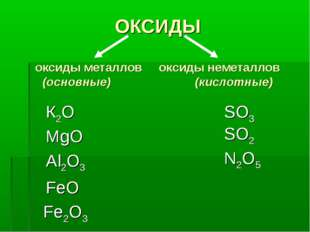 ОКСИДЫ оксиды металлов оксиды неметаллов (основные) (кислотные) MgO Al2O3 FeO