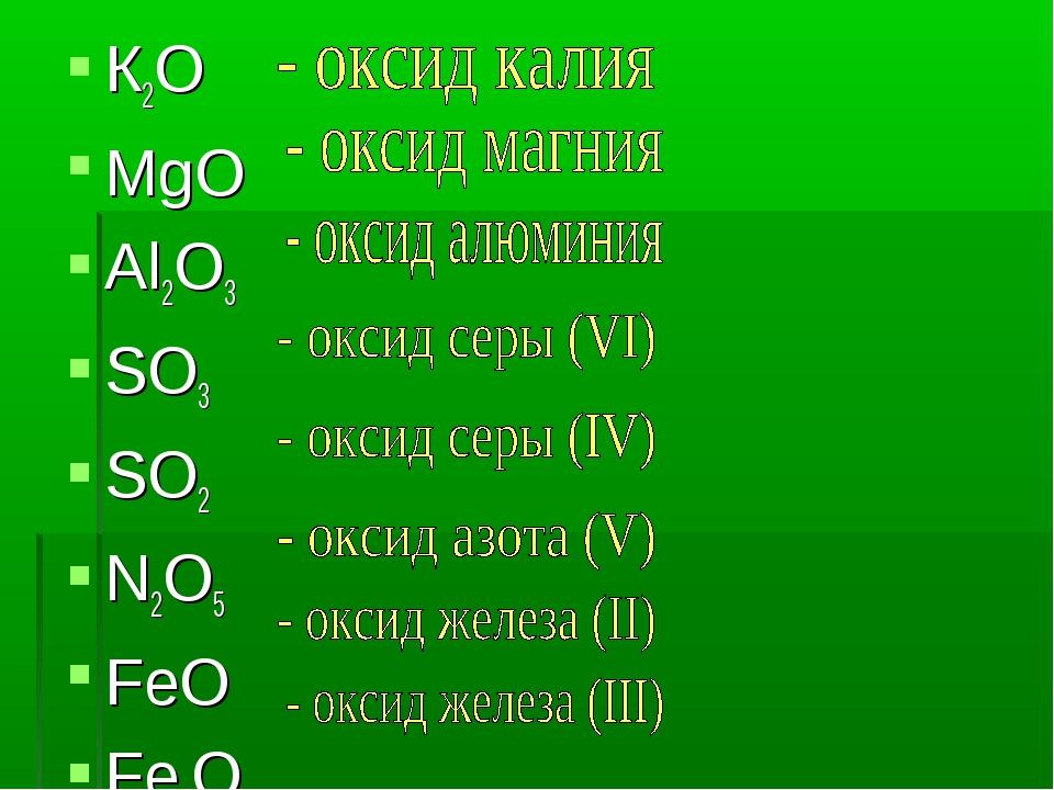 К2O MgO Al2O3 SO3 SO2 N2O5 FeO Fe2O3