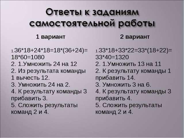 1 вариант 36*18+24*18=18*(36+24)=18*60=1080 2. 1.Умножить 24 на 12 2. Из рез...