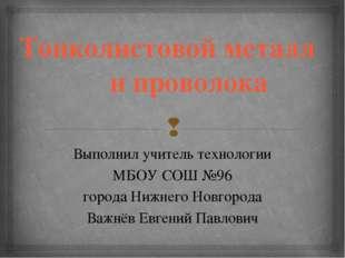 Тонколистовой металл и проволока Выполнил учитель технологии МБОУ СОШ №96 гор