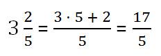 представление смешанного числа в виде неправильной дроби