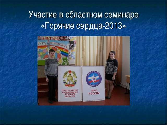 Участие в областном семинаре «Горячие сердца-2013»