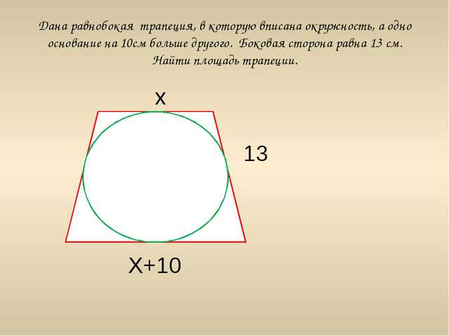 Дана равнобокая трапеция, в которую вписана окружность, а одно основание на 1...