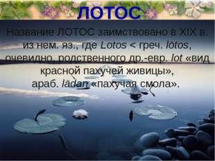 ЛОТОС Название ЛОТОС заимствовано в XIX в. из нем. яз., гдеLotos< греч.lōt