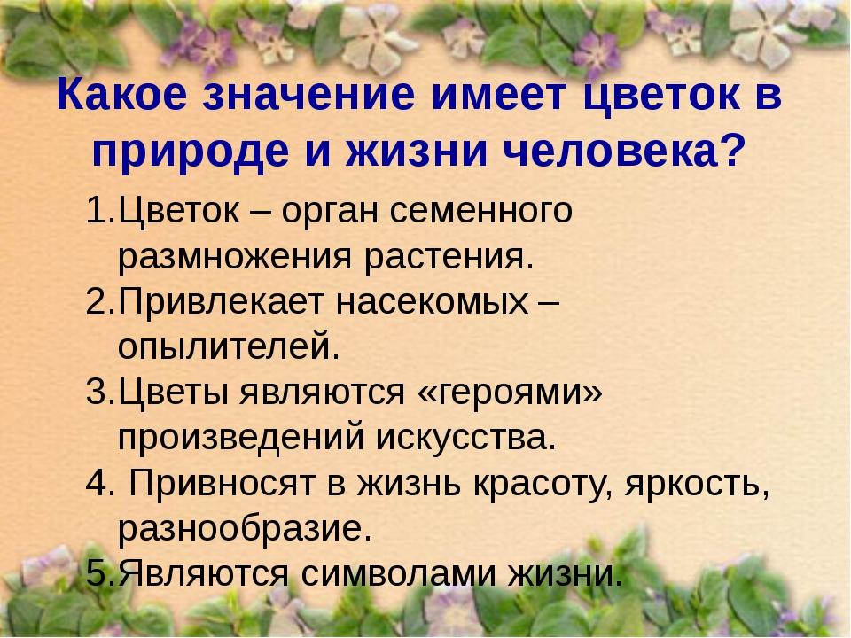 Какое значение имеет цветок в природе и жизни человека? Цветок – орган семенн...