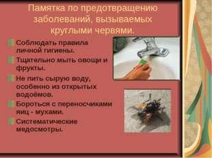 Памятка по предотвращению заболеваний, вызываемых круглыми червями. Соблюдать