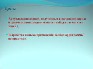 Цель: Актуализация знаний, полученных в начальной школе о правописании раздел