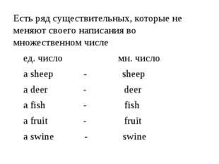 Есть ряд существительных, которые не меняют своего написания во множественном