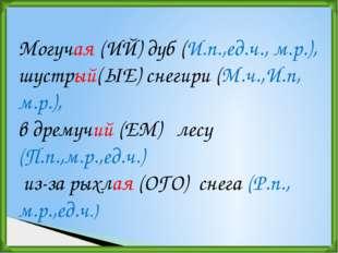 Могучая (ИЙ)дуб (И.п.,ед.ч., м.р.), шустрый(ЫЕ) снегири (М.ч.,И.п, м.р.), в