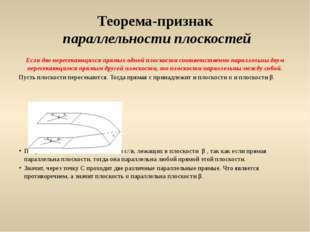 Теорема-признак параллельности плоскостей Если две пересекающихся прямых одно