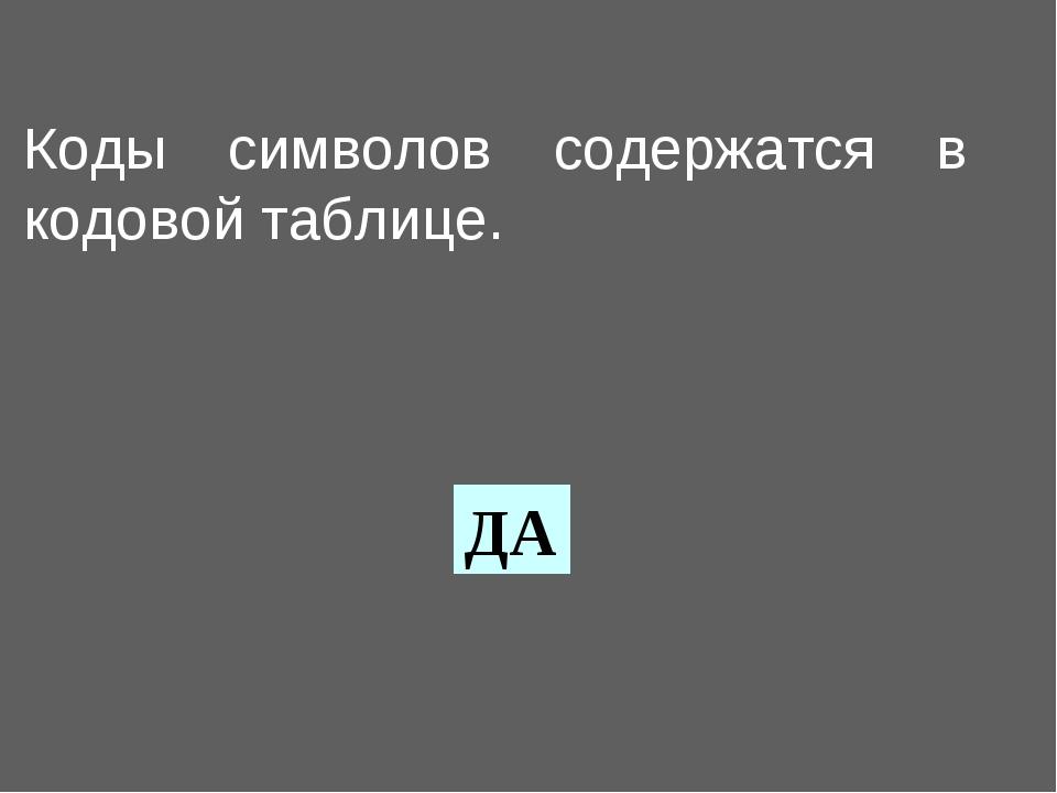 Коды символов содержатся в кодовой таблице. ДА